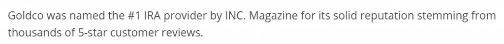Inc Magazine ranks Goldco